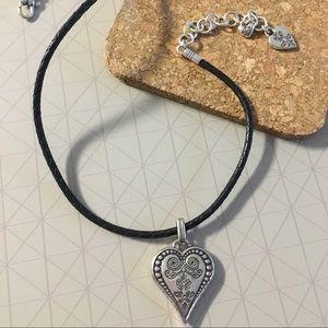 Brighton Ophelia Heart Leather Necklace Black